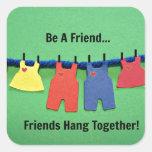 ¡Sea un amigo! Colcomanias Cuadradases
