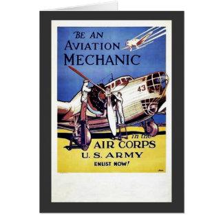 Sea un mecánico de la aviación tarjeta de felicitación