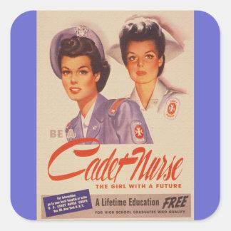 Sea un poster de la guerra del vintage de la calcomanía cuadradas personalizada