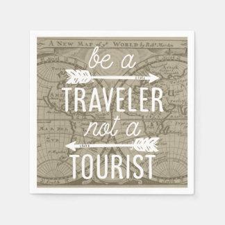 Sea un viajero no una cita turística de la servilleta desechable