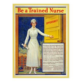 Sea una enfermera entrenada, vintage restaurado postal