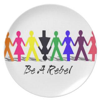 Sea una placa rebelde plato para fiesta