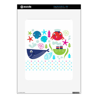 Sea underwater creatures design decals for iPad