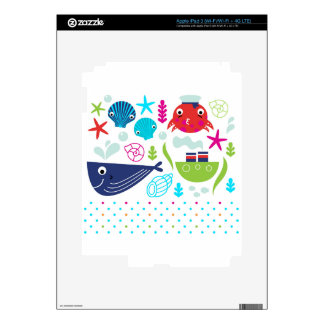 Sea underwater creatures design skins for iPad 3