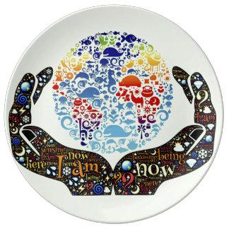 Sea uno con la tierra platos de cerámica