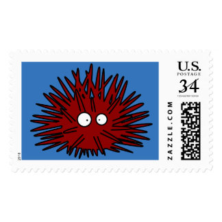 Sea Urchin Uni Spiny Red Hedgehog Ocean Postage