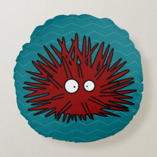 Sea Urchin Uni Spiny Red Hedgehog Ocean Round Pillow