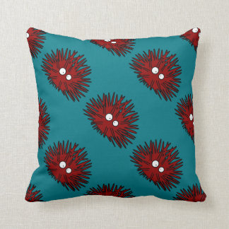 Sea Urchin Uni Spiny Red Hedgehog Ocean Throw Pillow