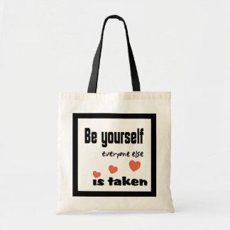 Sea usted mismo… que cada uno se toma (corazón) bolsa tela barata