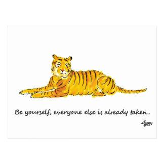 Sea usted mismo tarjeta del tigre tarjeta postal