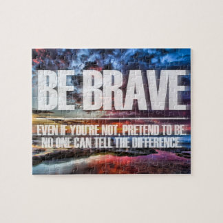 Sea valiente - cita de motivación rompecabezas con fotos