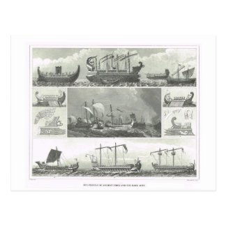 Sea vessels of ancient times and the dark ages postcard