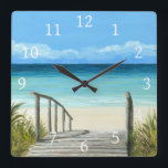 """Sea View 147 ocean beach Square Wall Clock<br><div class=""""desc"""">This is an image from one of my original paintings.</div>"""