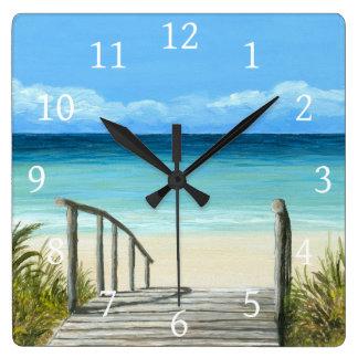 Sea View 147 ocean beach Square Wall Clock