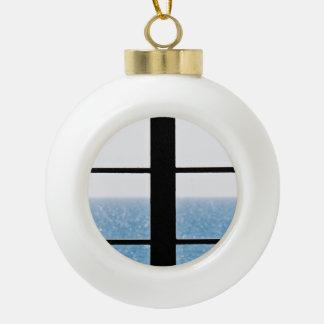 Sea view ceramic ball christmas ornament