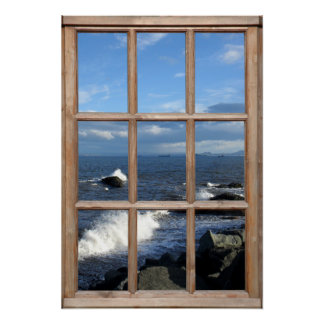 Sea View from a Window with Breaking Waves Poster