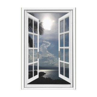 Sea View Trompe L'oeil Fake Window Canvas Print