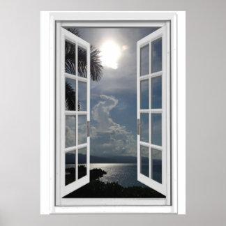 Sea View Trompe l'oeil Fake Window Poster