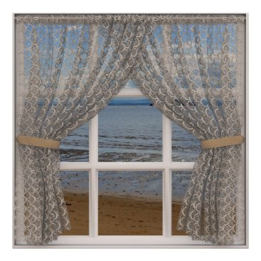 Beach Themed Sea View Window With Lace Curtains Poster