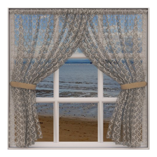 Sea View Window With Lace Curtains Poster