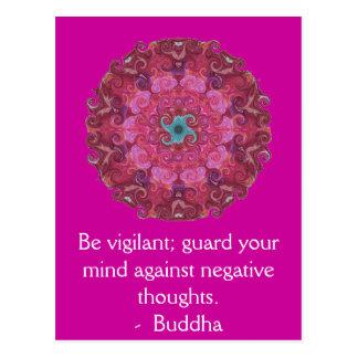 Sea vigilante; guarde su mente contra negativa postales