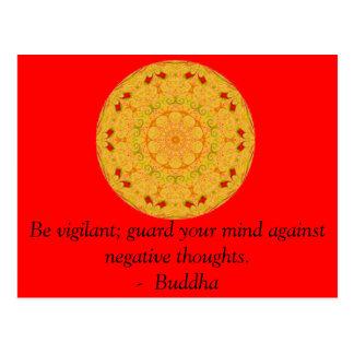 Sea vigilante; guarde su mente contra negativa tarjetas postales