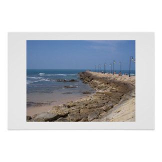 Sea wall walk, Rota Spain Poster
