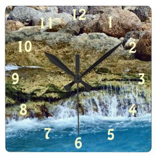 Sea Washed Rocks Square Wall Clock