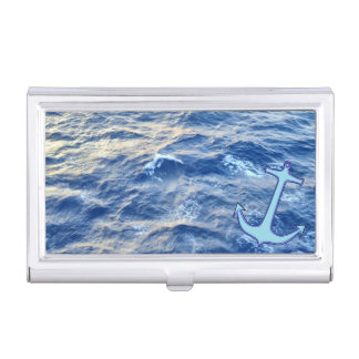 Sea Water Anchor Blue Case For Business Cards