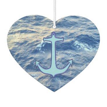 Valentines Themed Sea Water Anchor Blue Heart Car Air Freshener
