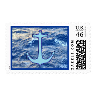 Sea Water Anchor Blue Stamp
