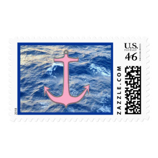Sea Water Anchor Pink Postage Stamps