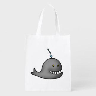 sea water cartoon whale reusable grocery bag