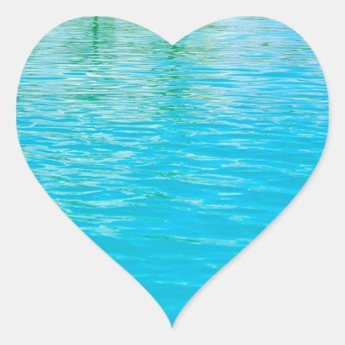Sea Water Custom Blue Green Blank Template Heart Sticker