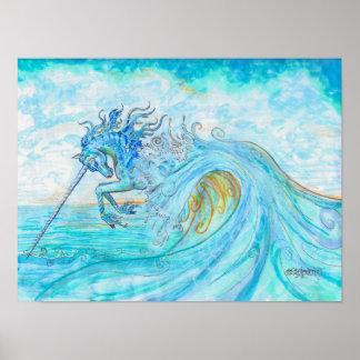 Sea Water Ocean Unicorn Leaping Long Horn Poster