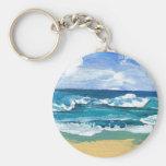 Sea Waves at Play - CricketDiane Ocean Art Basic Round Button Keychain