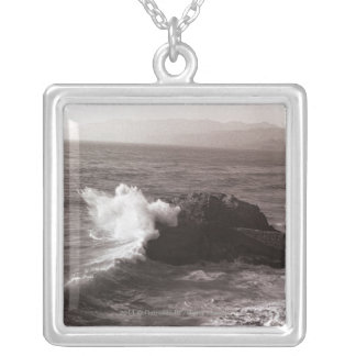 Sea waves crashing against rock square pendant necklace
