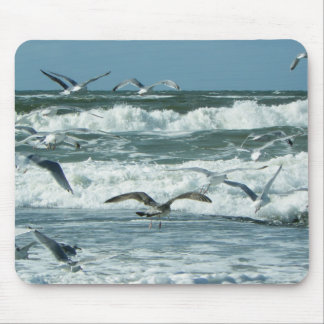 Sea Waves, Seagulls Flying, Blue Sky Mouse Pad