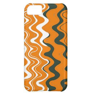 Sea Wavy Stripes Pattern (Orange, White, Grey) iPhone 5C Covers