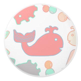 Sea Whale, Nautical Fun Creatures Pastel Ceramic Knob