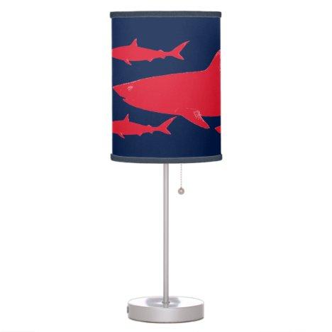 sea wild red shark table lamp