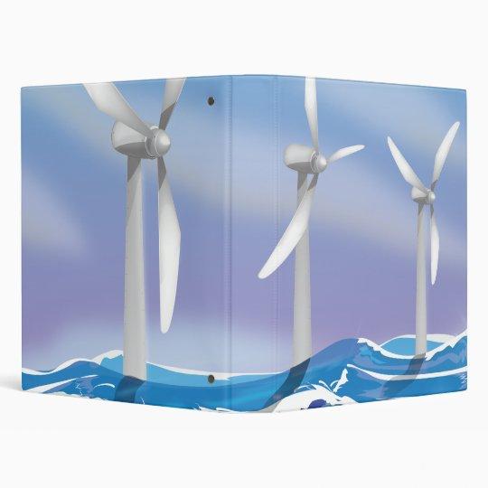 Sea Wind Power turbines 3 Ring Binder
