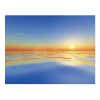 Sea with sun postcard