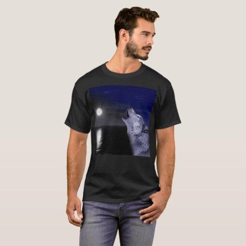 Sea wolf _ moon wolf _ full moon _ wild wolf T_Shirt
