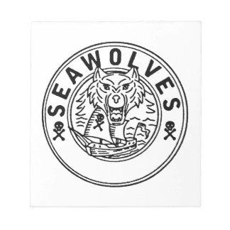 Sea Wolf Pirate Sailing Ship Circle Line Drawing Notepad