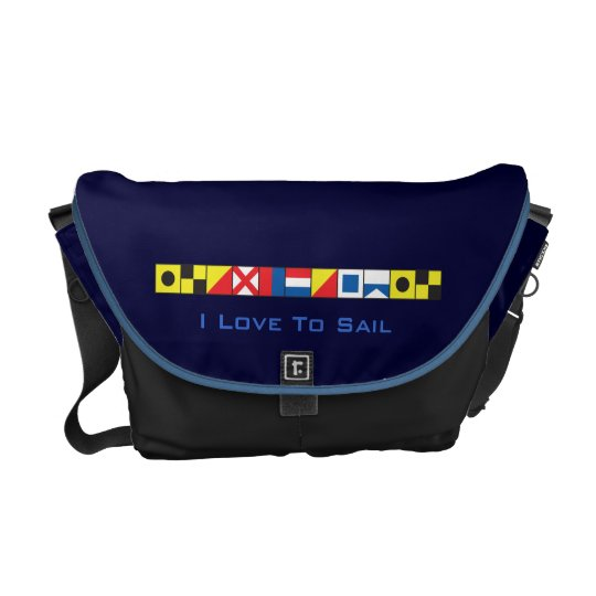 Sea Worthy_I Love To Sail_Signal Flags epaulet Courier Bag