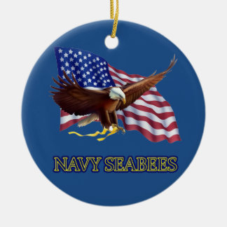 SEABEES AMERICAN FLAG WITH EAGLE Double-Sided CERAMIC ROUND CHRISTMAS ORNAMENT