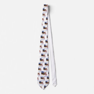 Seabees Bald Eagle American Flag Design Neck Tie