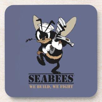Seabees We build We Fight Hard Plastic Coaster