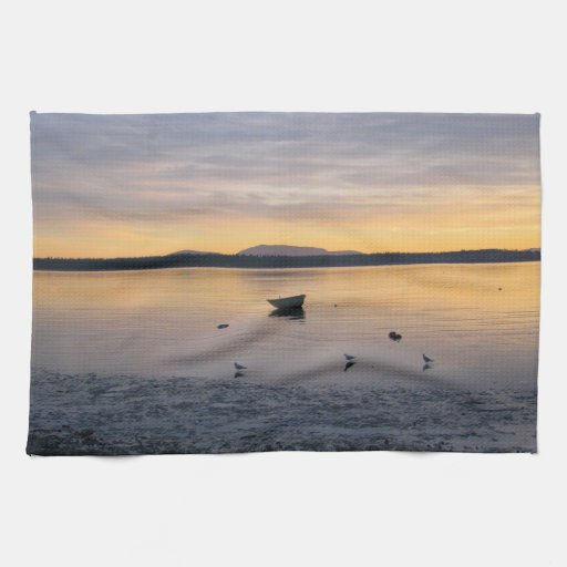 Seabirds and Boat Hand Towel | Zazzle